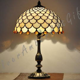 Stained glass table lamp. Tiffany style desk lamp.