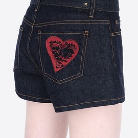 VALENTINO - Denim shorts with embroidered heart