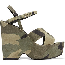 SAINT LAURENT - SS2016 Camouflage-print distressed suede platform sandals