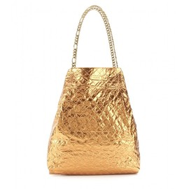 LANVIN - METALLIC-LEATHER SHOPPER