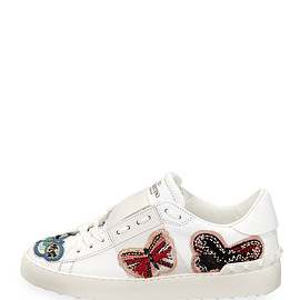 VALENTINO - Open Butterfly-Embroidered Sneaker