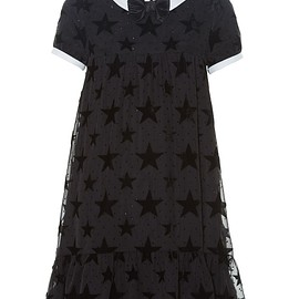 SAINT LAURENT - Flocked-stars contrast-collar babydoll dress