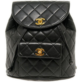 CHANEL - Vintage Chanel Black Quilted Backpack Bag