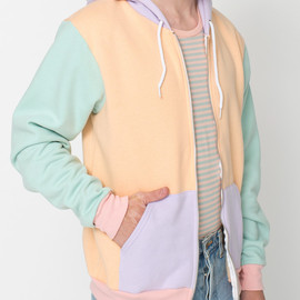 American Apparel - Flex Fleece Color Block Zip Hoodie