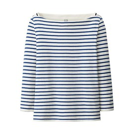 UNIQLO - WOMEN STRIPED BOAT NECK 3/4 SLEEVE T