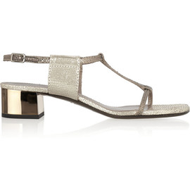 LANVIN - Two-tone metallic snake-effect leather sandals