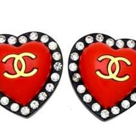 CHANEL - Vintage Chanel earrings red black heart rhinestone