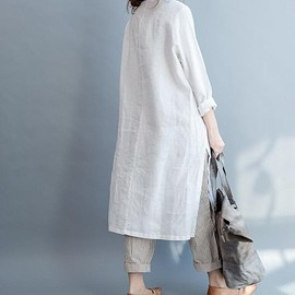 loose shirt dress - Maxi dress, women Shirt collar dress, Linen long shirt, loose shirt dress In beige, White