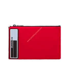 PRADA - Prada 2NH006 Rubber Logo Nylon Clutch In Red