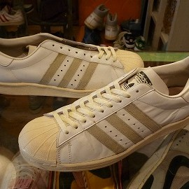 "adidas - 「<used>80's adidas SUPERSTAR white/natural""made in FRANCE"" size:GB12(30.5cm) 35800yen」完売"