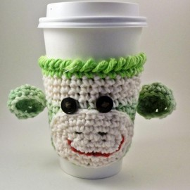 Luulla - Coffee cozy - sock monkey - crochet - lime green