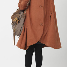 wool coat - dark orange cloak wool coat Hooded Cape women Winter wool coat