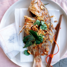 donna hay - crispy whole fish with tamarind dressing