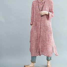 dress - Women Single breasted large size long dress/ maxi dress/ long shirt/ gown