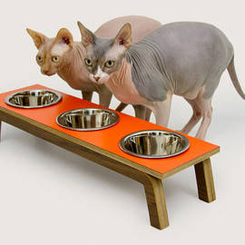 modernistcat - Mid Century Modern Pet Feeder with TRIPLE stainless bowls