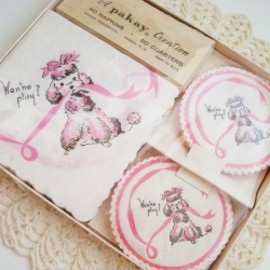 "A Pakay Creation - 1950-60's 【A Pakay Creation】 ""PINK POODLE"" Paper Napkins & Coasters Set"