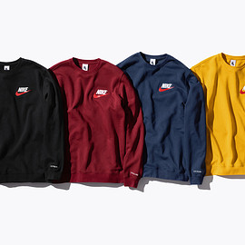 Supreme, NIKE - Cotton blend Crewneck faux leather appliqué logo