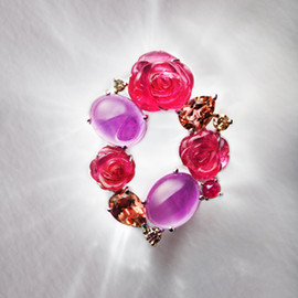 koji mitani - Red&purple cocktail brooch