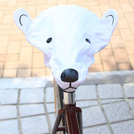 BL SELECT - *BIKE ANIMAL* animal saddle cover (bear/wht)