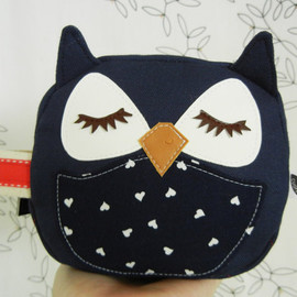 CUORE - Susie the Owl Navy Blue Applique Canvas Mini Zipper Cosmetic Pouch Carry All Case
