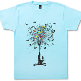 Design Tshirts Store graniph - Peaceful Flower /Sky Blue