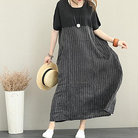 black striped dress - Long linen dress, Maxi dress, gray dress, summer dress, black striped dress, prom dress