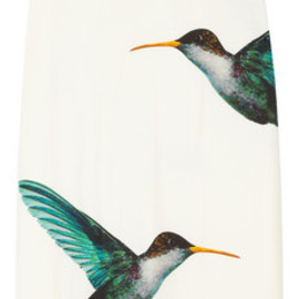 Jil Sander  - Lapis hummingbird-point satin-twill skirt