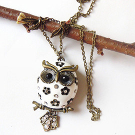 charmming  - Snow Chubby Owlette: Owl Necklace - Antique Bronze Style  Owl