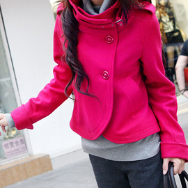 Roman Style Pure Color Stand Collar Worsted Coat