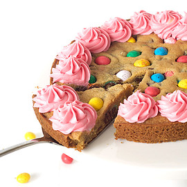Easter Egg Cookie Cake with Pink Buttercream
