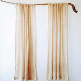Pair Vintage Raw Silk and Linen Curtain Panels - 1970s, natural decor