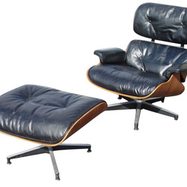 Herman Miller - Eames Lounge Chair and Ottoman (Navy Leather Upholstered)