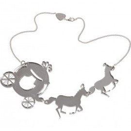 Tatty Devine - Horse & Carriage Necklace - silver mirror