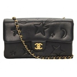 CHANEL - Chanel Vintage Black Leather Star Classic 2.55 Flap Bag