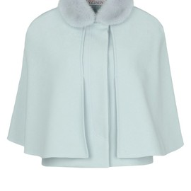 RED VALENTINO - Wool-cotton twill cape embellished with a detachable mink collar