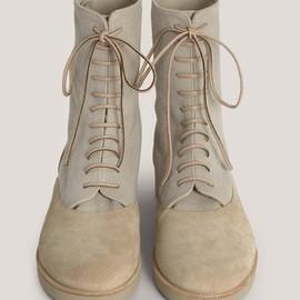 MM6 - Suede-panel lace-up flat boots 1