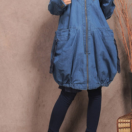Maxi coat - Large pockets Hood lantern blue Maxi coat