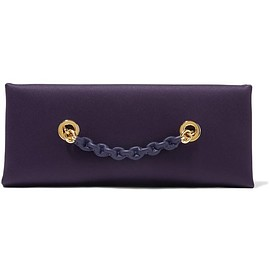 TOM FORD - Leather-trimmed satin clutch