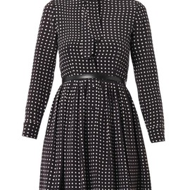 SAINT LAURENT - Polka-dot-print silk dress