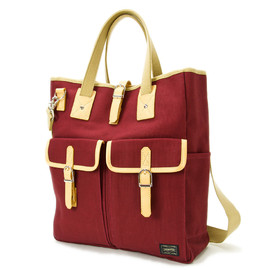 "HEAD PORTER - ""LX"" TOTE BAG BURGUNDY"