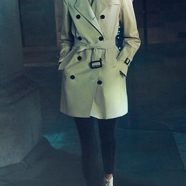 Mid-Length Slim Fit Wool Cashmere Trench Coat