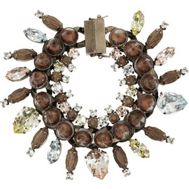 GIVENCHY - Rose gold-tone, crystal, obsidian and rosewood bracelet
