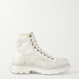 Alexander McQueen - Printed canvas and rubber exaggerated-sole ankle boots