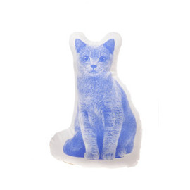 Areaware - Organic Animal Printed Cushions Mini Shorthair Cat Periwinkle