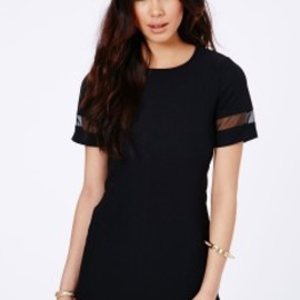 missguided - Soledad Mesh Panel Shift Dress In Black