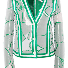 THOM BROWNE - SS2015 Cricket Seam V Neck Jacket In Fishing Line Toile