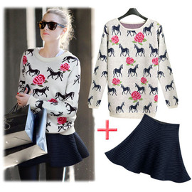 Embroidered Horse Rose Crewneck Sweater High Waist Pleated Skirts