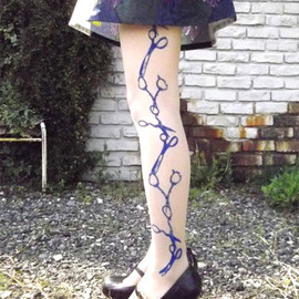 EineLilie -  Scissor Stripe Stocking (Blue)
