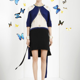Vionnet - Crepe de chine and chiffon dress, with cady silk and embroidered studs