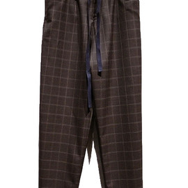 SUNSEA - Wool check tapered easy pants